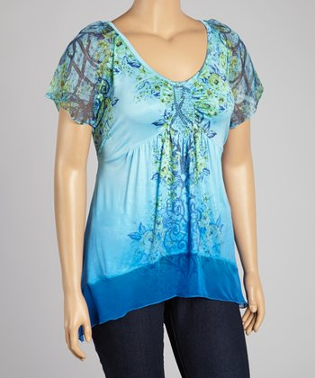 Blue Paisley Embellished Sidetail Top - Plus