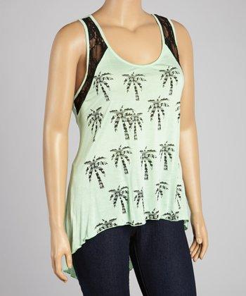 Mint Palm Tree Lace Hi-Low Top - Plus