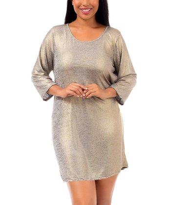 Gray & Gold Metallic Shift Dress - Plus