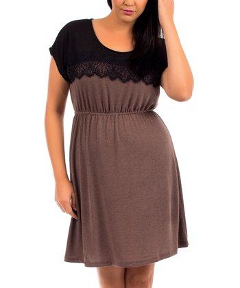 Coco & Black Lace Blouson Dress - Plus