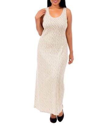 Beige & Gold Zebra Sleeveless Maxi Dress - Plus
