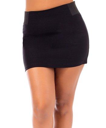 Black Zipper Miniskirt - Plus
