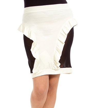 Cream & Black Ruffle Skirt - Plus