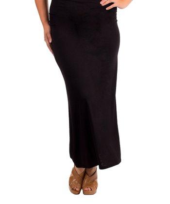 Black Solid Maxi Skirt - Plus