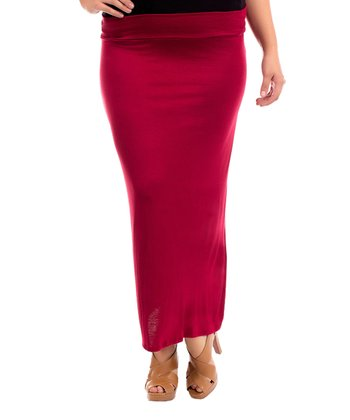 Burgundy Solid Maxi Skirt - Plus