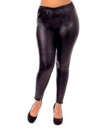 Black Faux Leather Leggings - Plus