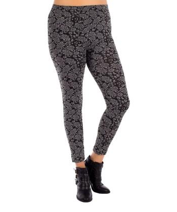 Gray Wall Paper Legging - Plus