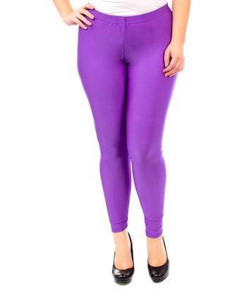 Purple Glossy Leggings - Plus