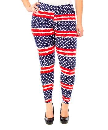 Navy & Red Proud Leggings - Plus
