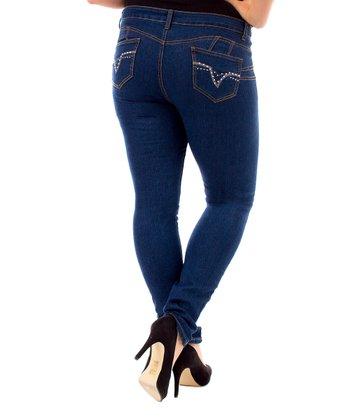 Navy V-Stone Skinny Jeans - Plus