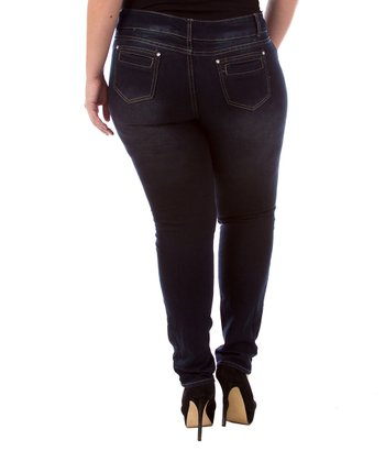 Blue Two-Button Skinny Jeans - Plus