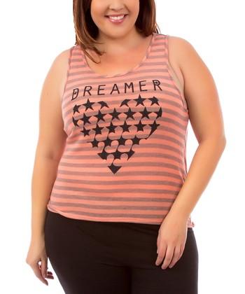 Coral & Gray Stripe 'Dreamer' Drape-Back Tank - Plus