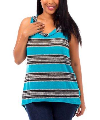 Turquoise & Gray Stripe Hi-Low Tunic - Plus