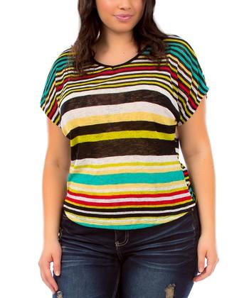 Yellow & Black Stripe Cape-Sleeve Top - Plus