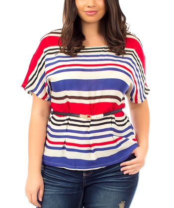 Ivory & Red Stripe Belted Cape-Sleeve Top - Plus