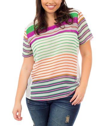 Ivory & Green Stripe Sheer-Back Boatneck Top - Plus