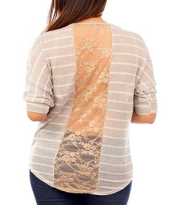 Khaki & Brown Stripe Lace-Back Dolman Top - Plus