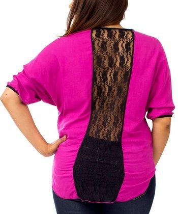 Magenta & Black Lace-Back Dolman Top - Plus