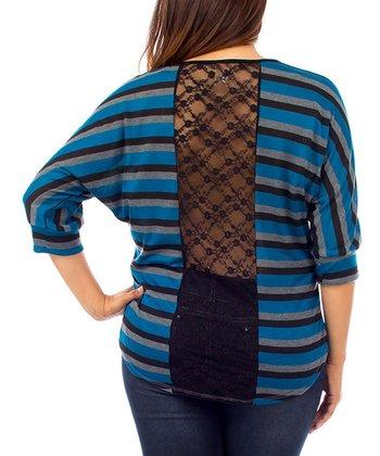 Teal & Black Stripe Lace-Back Dolman Top - Plus