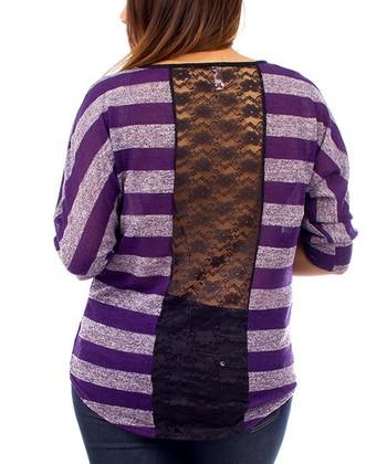 Purple Stripe Lace-Back Dolman Top - Plus