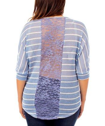 Light Blue Stripe Lace-Back Dolman Top - Plus