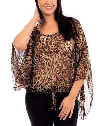 Brown Leopard Bell-Sleeve Blouson Top - Plus