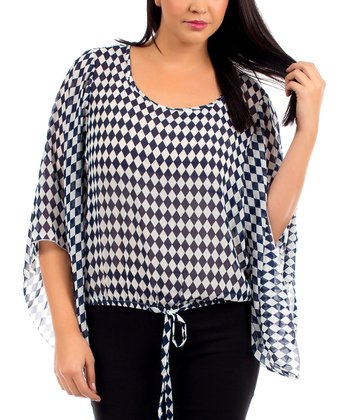 Navy & White Checkerboard Bell-Sleeve Blouson Top - Plus