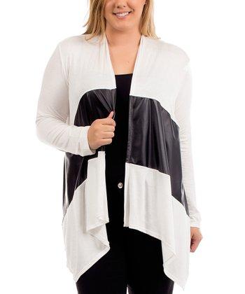 Ivory & Black Pleather-Accent Open Cardigan - Plus