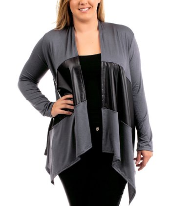Charcoal & Black Pleather-Accent Open Cardigan - Plus