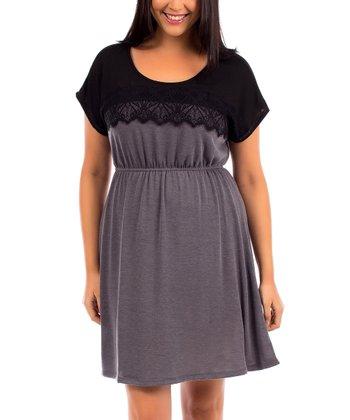 Pewter & Black Tone Blouson Dress - Plus