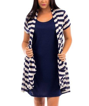 Navy & Oatmeal Stripe Short-Sleeve Duster - Plus