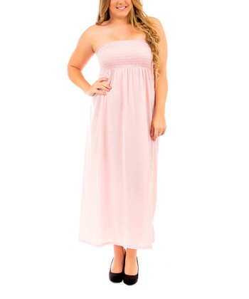Light Pink Strapless Maxi Dress - Plus