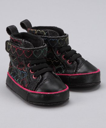 Black Embroidered Hi-Top Sneaker