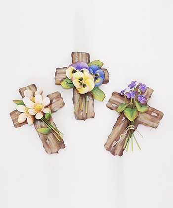 Floral Cross Mini Stake Set