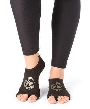 Black & Silver Om Gripper Socks - Women & Men