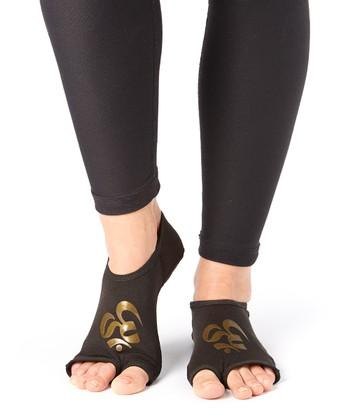 Black & Bronze Om Gripper Socks - Women & Men