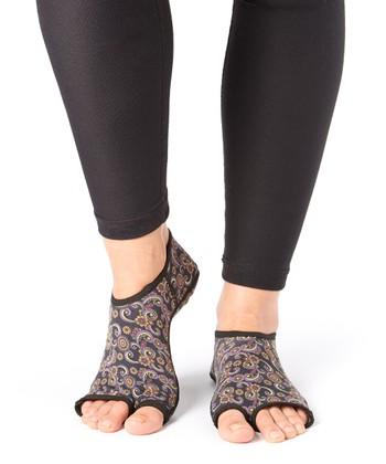 Lime & Purple Paisley Gripper Socks - Women & Men