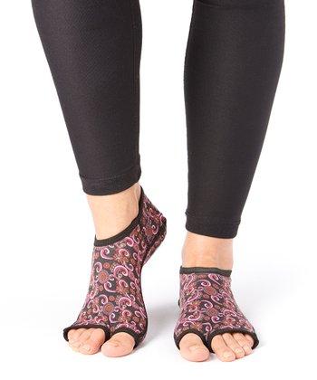 Hot Pink & Black Paisley Gripper Socks - Women & Men