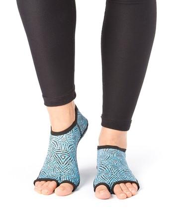 Turquoise Tribal Gripper Socks - Women & Men