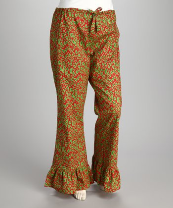 Red & Green Leopard Pajama Pants - Women