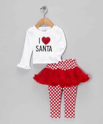 Red & White 'I Love Santa' Tee & Skirted Leggings - Toddler & Girls