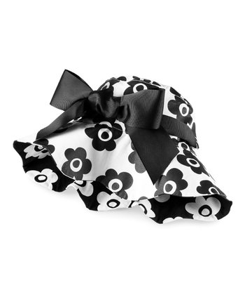 White & Black Flower Reversible Ruffle Hat