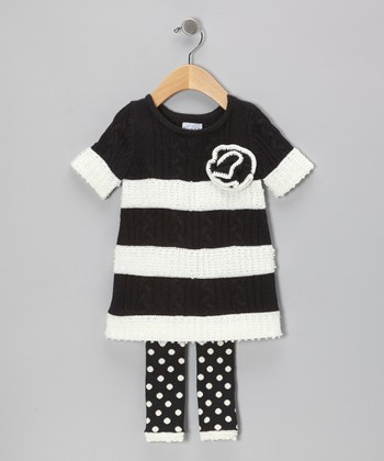 Black Tres Jolie Cable-Knit Tunic & Polka Dot Leggings - Infant