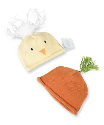 Yellow & Orange Carrot & Chick Beanie Set