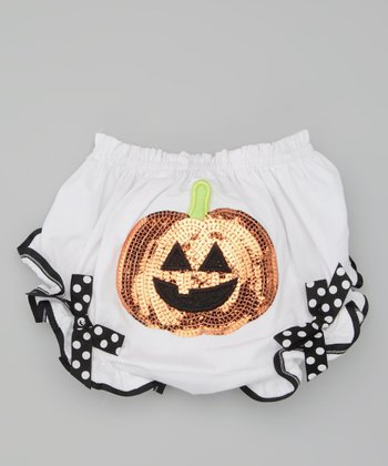 White & Orange Pumpkin Diaper Cover - Infant