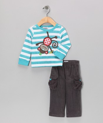 Blue Stripe Monkey Tee & Gray Cargo Pants - Infant