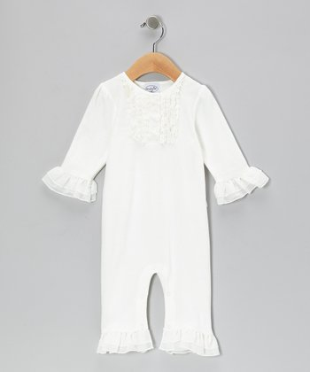 White Ruffle Velour Playsuit - Infant