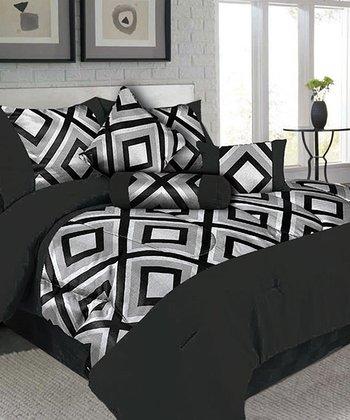 Silver & Black Barcelona Comforter Set