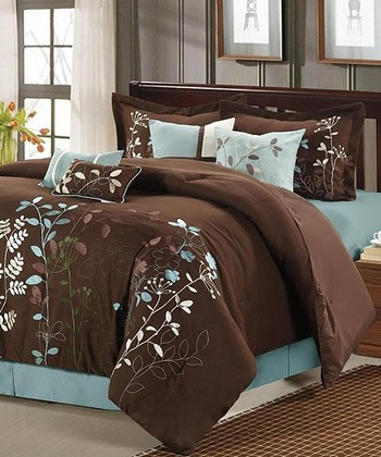 Brown Bliss Garden Embroidered Comforter Set
