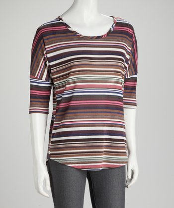 Brown & Pink Stripe Round Hem Tee